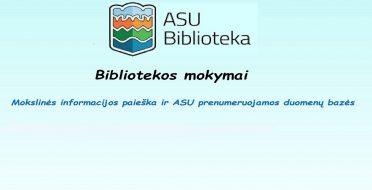 Bibliotekos mokymai lapkričio mėnesį